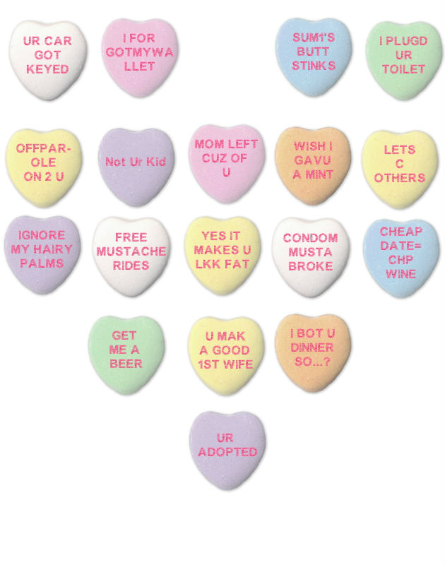 Read These Funny Rude Candy Hearts