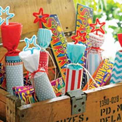 faux firecracker 4th of July decorations