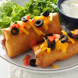 Taste of Home's Beef and Bean Chimichangas